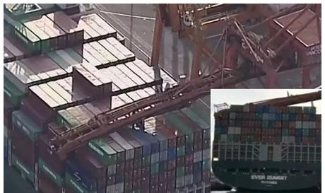 突发事故!长荣集装箱船撞击岸桥导致后者大臂坍塌-港口技术安全网